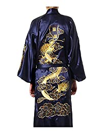 ACVIP Men's Satin Gold Dragon Sleepwear Bathrobe