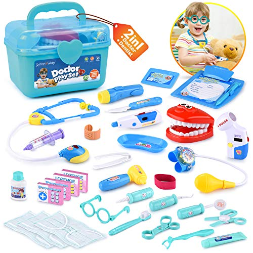 BRITENWAY Educational Doctor Kit Medical Pretend Play Toy Set in Storage Box 34 Pcs - Battery Operated Tools with Lights & Sounds - Promote Learning, Hand to Eye Coordination, Fine Motor Skills