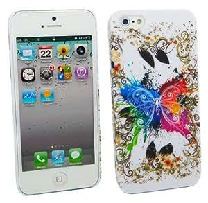 Kit Me Out ES ® Carcasa rígida + Protector de pantalla con gamuza de microfibra para Apple iPhone 5/5G - Mariposa de colores
