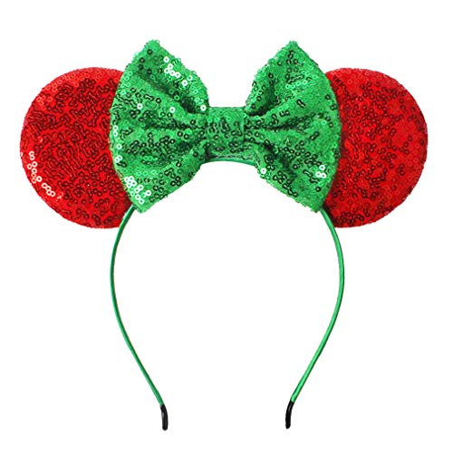 YanJie Christmas Sequin Mouse Ears - Glitter Hair Accessories Party Favor Decoration Cosplay Costume for Children & Adults (Green) ()