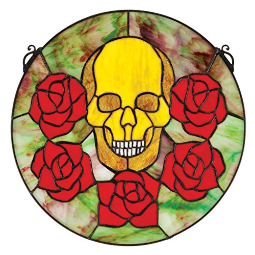 Gothic Stained Glass Windows - Stained Glass Panel - Beauty and Decay Gothic Skull Round Stained Glass Window Hangings - Window Treatments