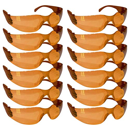 (BISON LIFE Full Color Safety Glasses | One Size, Adult, Youth, Full Color Polycarbonate Lens and Temple, BROWN, 12 per Box (1 box/12)