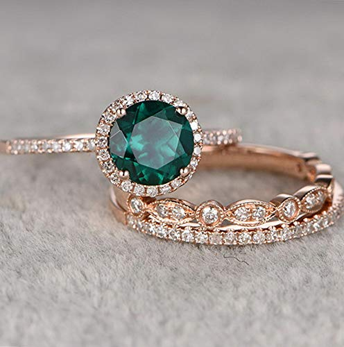 Rhame 3pcs/Set Women Chic Emerald 18K Yellow Gold Plated Wedding Bridal Ring Set 6-10 | Model RNG - 21687 | 6