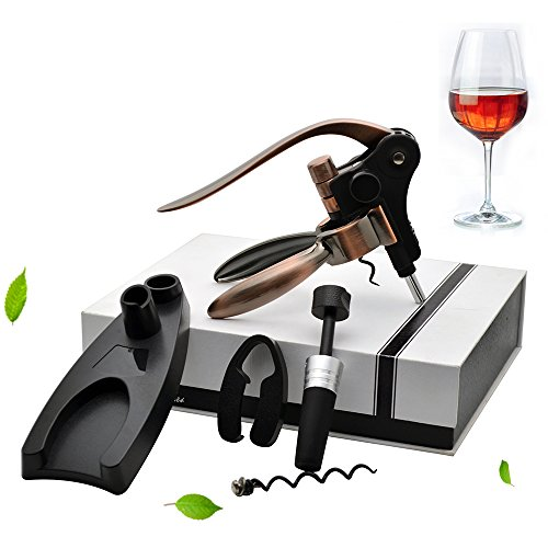 Aonesy Wine Bottle Opener, All-In-One Manual Rabbit Corkscrew Set - 8 Piece Bundle with Stand, Wine Stoppers, Foil Cutter, EXTRA Spiral - Great Set for Women and Men by AONESY (Image #9)