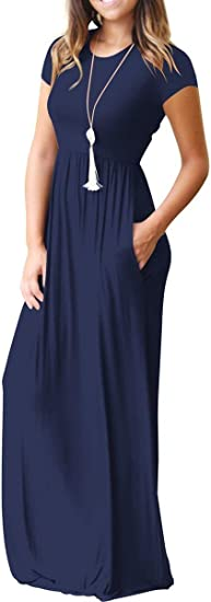 Women's Loose Plain Maxi Casual Dress