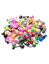 Flexible Belly Ring Assorted Lot of 20 Navel Rings Flexible Bioplast 14 Gauge Piercing (20 Pieces)