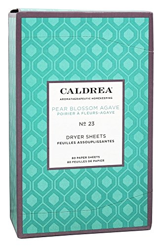 Caldrea Pear Blossom Agave Dryer Sheets, 80 Count