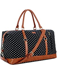 HB-14 Canvas Travel Tote Duffel Bag Carry on Weekender Overnight Bag Oversized for Women and Ladies (Black Dot)