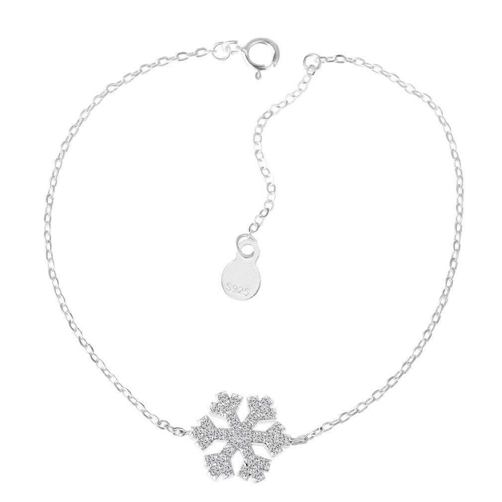 YAZILIND Bracelet À Maillons Oxyde de Zirconium Gracieuse Flocon De Neige En Argent 925 Sterling 1654B0009