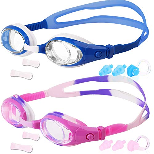 COOLOO Kids Swim Goggles, Pack of 2, Swimming Glasses for Children and Early Teens from 3 to 15 Years Old, Anti-Fog, Waterproof, UV Protection, Made