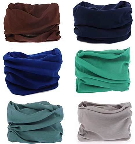 SmilerSmile 6pcs Assorted Seamless Outdoor Sport Bandanna Headwrap Scarf Wrap, 12 in 1 High Elastic Magic Headband & Collars Muffler Scarf Face Mask with UV Resistance,(Solid Color 4) (Multi Magic Scarf)