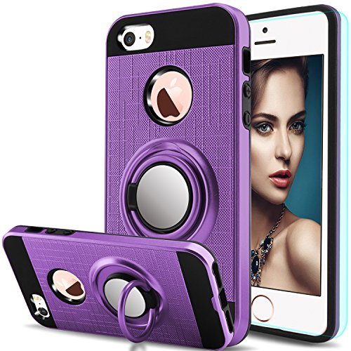 iPhone 5S Case,iPhone SE 2, iPhone 5,iPhone SE,iPhone 5SE Case with HD Screen Protector,Anoke Cellphone 360 Degree Rotating Ring Holder Kickstand Drop Protective Cover for Apple iPhone 5 ZS Purple