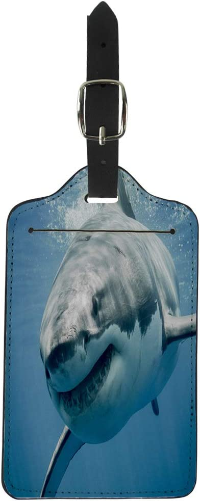 Pinbeam Luggage Tag Blue Threat Great White Shark Smiling Predator Smile Suitcase Baggage Label