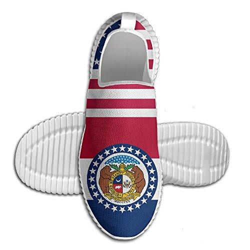 Mocassino Uomo Usa Missouri Bandiera Donna Mocassini Da Uomo Scarpe Da Corsa Mesh Traspirante Outdoor Sport Scarpe Da Passeggio Bianco