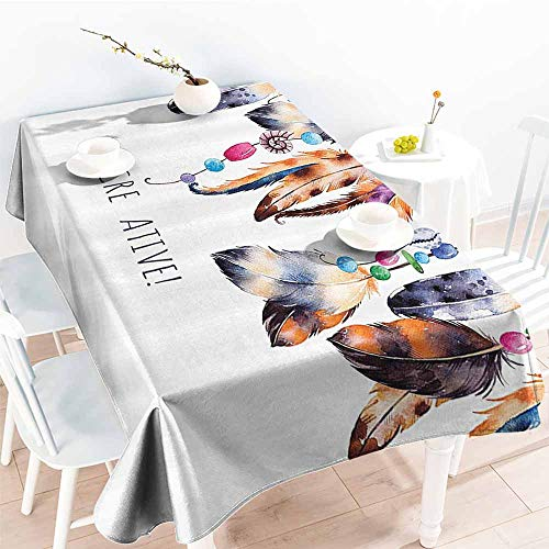 (Stain-Resistant Tablecloth Pearls Decor Collection Be Creative Quote Watercolor Print Feathers and Beading Boho Style Home Decor White Brown Picnic W70 xL84)