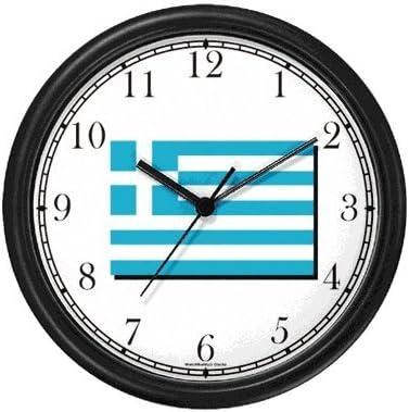 WatchBuddy Flag of Greece – Greek Theme Wall Clock Timepieces White Frame