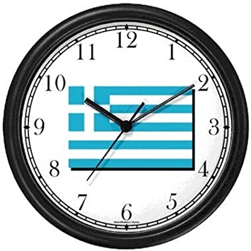 De Grecia de la bandera de - Greek diseño de reloj de pared de relojes WatchBuddy (marco blanco): Amazon.es: Hogar