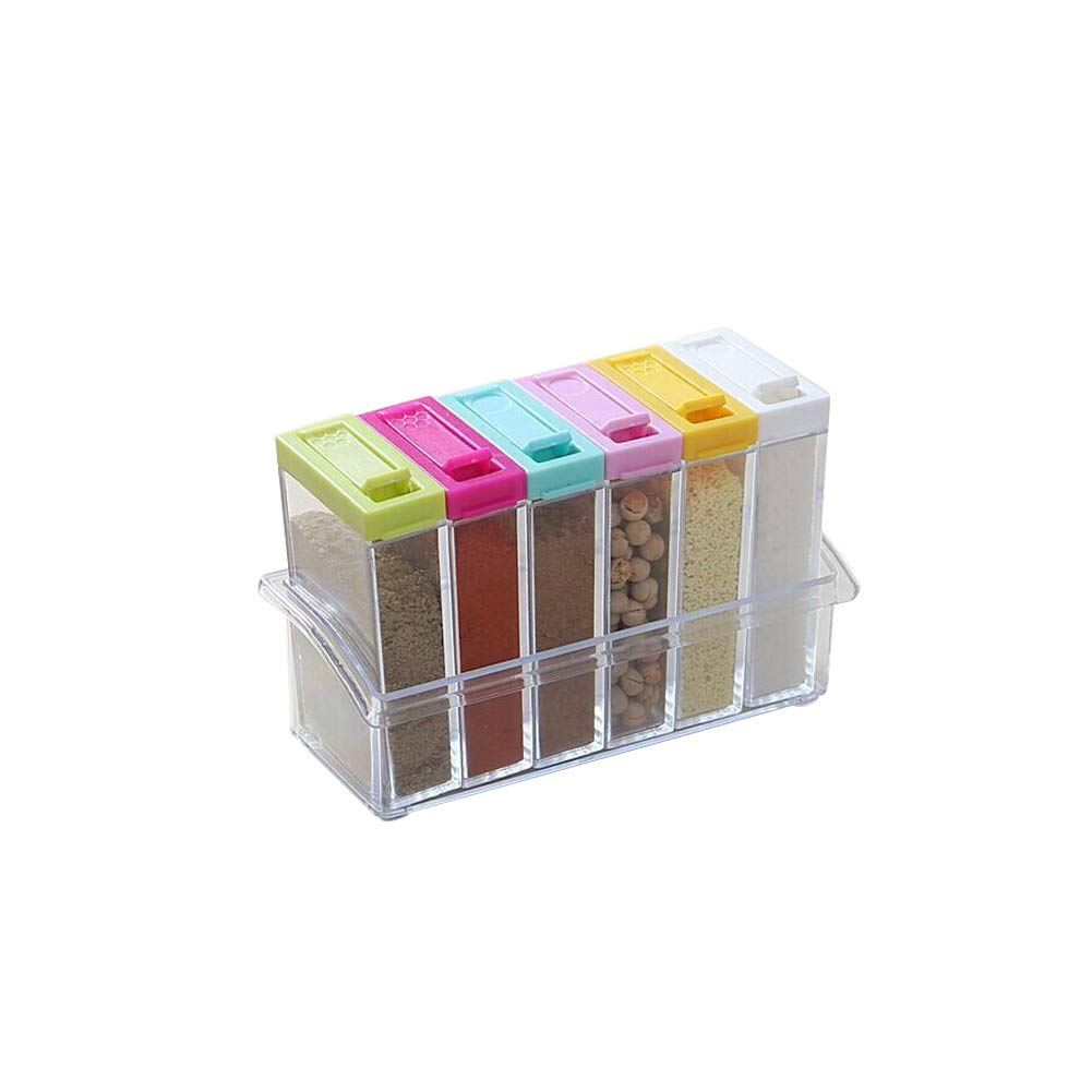 Leijing 6 in 1 Seasoning Storage Box Kitchen Spice Storage Bottle for Distinguish between different spices (Storage box)
