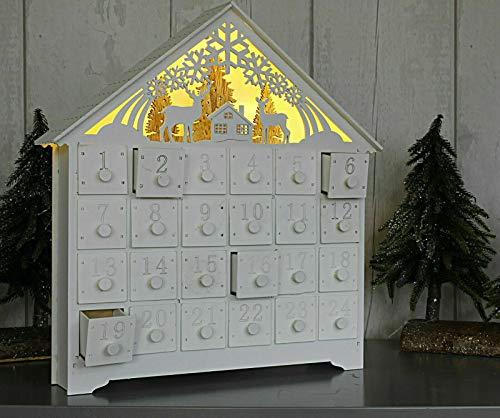 AQS INTERNATIONAL Wooden Advent Calendar Chalet House Christmas 24 Drawers 8 Warm Led Light White