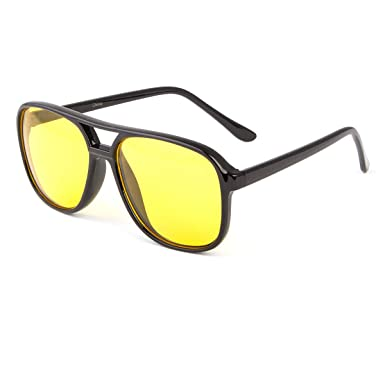 c9e6fff3a5f4 Image Unavailable. Image not available for. Color  SPORT Aviator HD NIGHT  DRIVING VISION SUNGLASSES YELLOW HIGH DEFINITION GLASSES