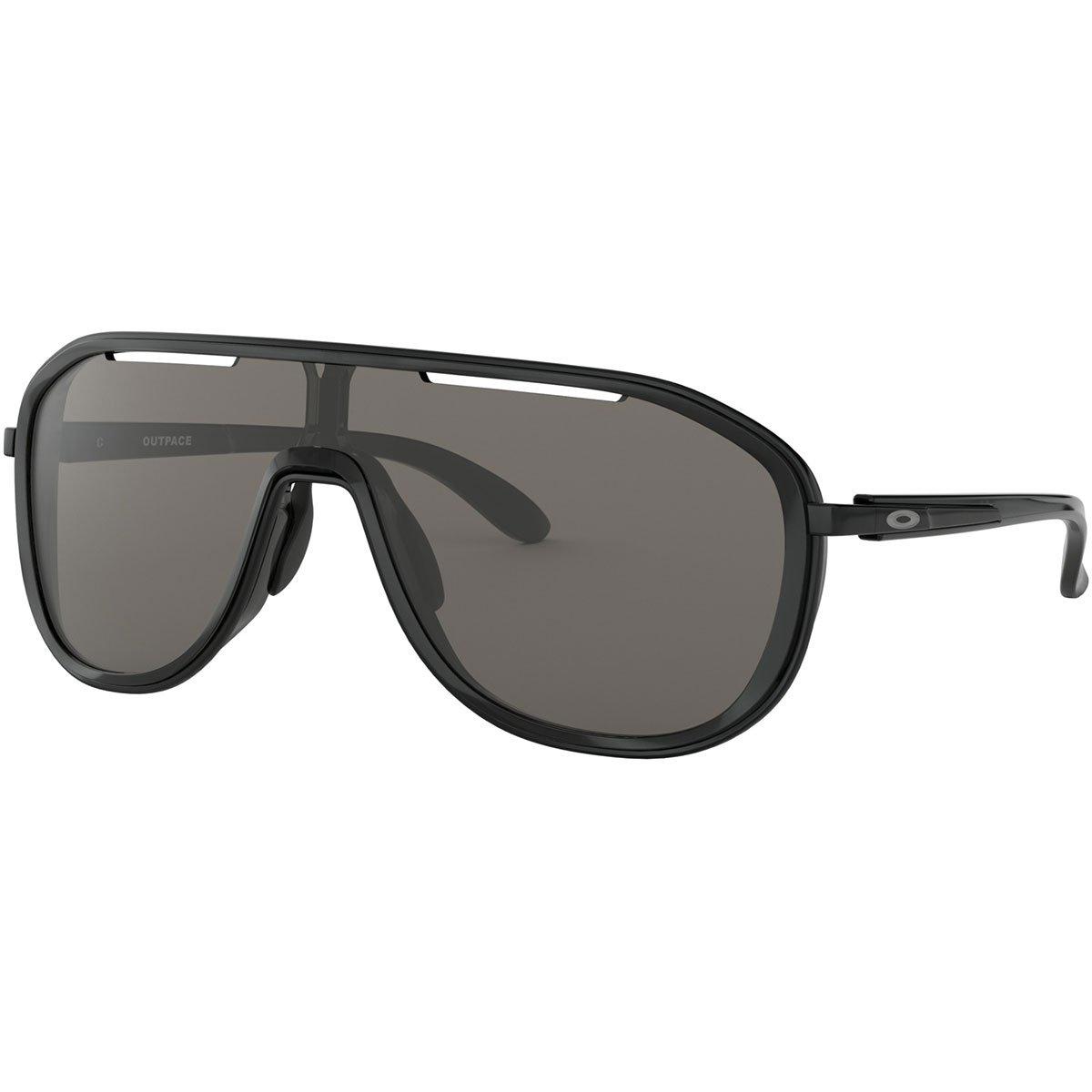 Oakley Women's OO4133 Outpace Rectangular Metal Sunglasses, Black Ink/Warm Grey, 26 mm by Oakley