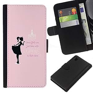 KLONGSHOP // Tirón de la caja Cartera de cuero con ranuras para tarjetas - Rosa Negro Niñas minimalista texto - Sony Xperia Z1 L39 //