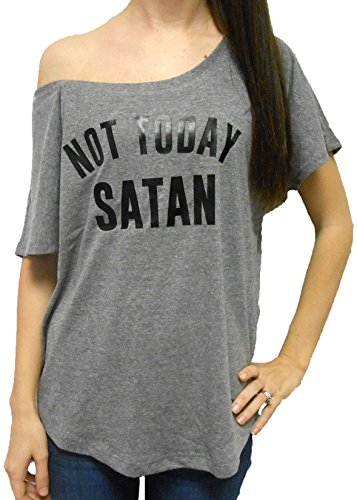 [SGC Women's Not Today Satan Shirt Off The Shoulder (Medium, Heather Grey)] (Devil Girl Outfit)