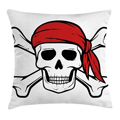 - Ambesonne Pirate Throw Pillow Cushion Cover, Dead Pirate Skull and Crossbones Red Bandana Scary Bandit Warning Icon Piracy, Decorative Square Accent Pillow Case, 18 X 18 Inches, Black White Ruby