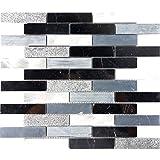 Modket TDH207MO Black Marquina Marble Stone Mosaic Tile Metallic Aluminum Blended Brick Joint Pattern Mosaic Backsplash