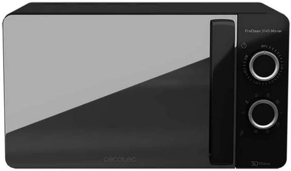Cecotec ProClean 3140 Mirror - Microondas con Grill, Capacidad de 20l, Revestimiento Ready2Clean, 700 W de Potencia, Grill 800W, 6 Niveles, Temporizador 30 min, Modo Descongelar, Color Negro