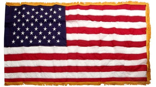 American 3ft x 5ft Nylon Flag with Indoor Pole Hem and Fringe - Made By Valley Forge by Perma-Nyl