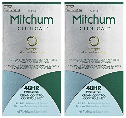 Mitchum Clinical Antiperspirant Deodorant For Men - Soft Solid - Clean Control Scent - Net Wt. 1.6 OZ (45 g) Each - Pack of 2