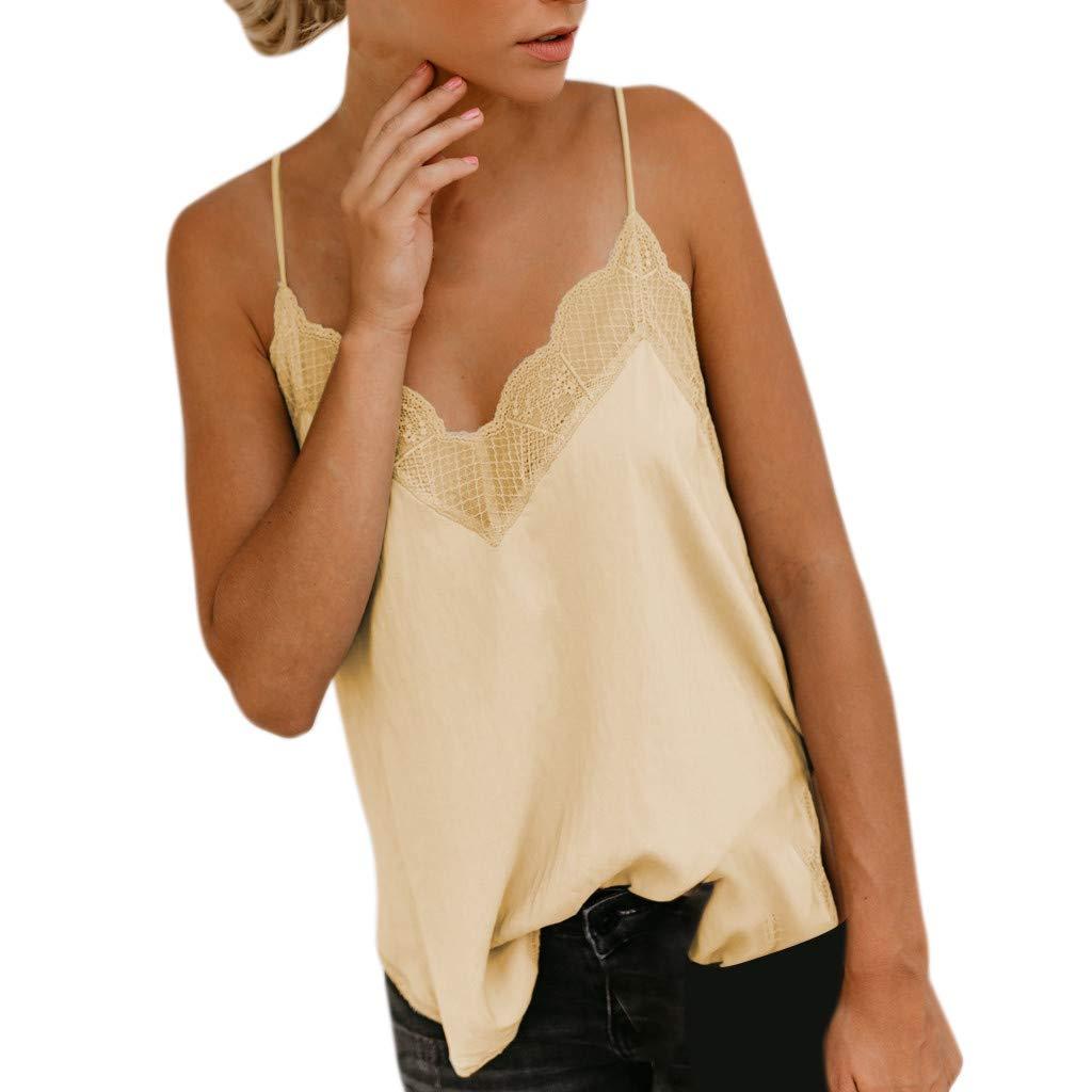Camiseta con Tirantes para Mujer,ZARLLE Mujeres Seda sat/én Camisola Liso Tiras Chaleco Blusa sin Mangas Tanque Informal Chaleco Blusa