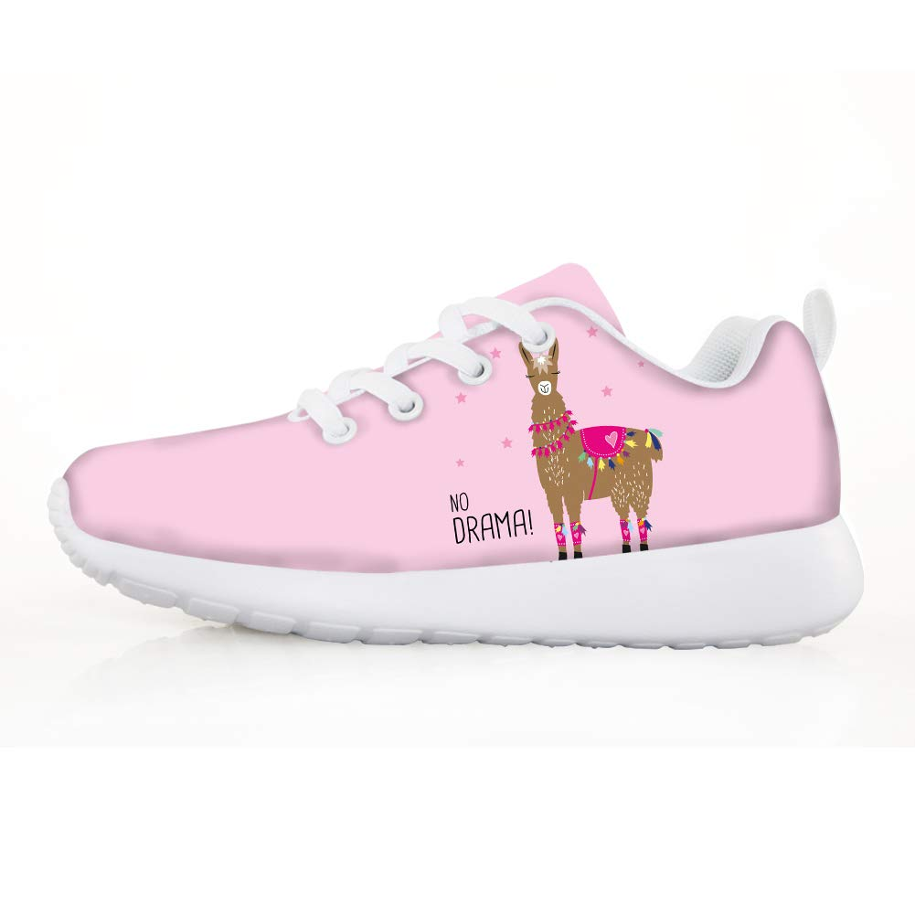 Owaheson Boys Girls Casual Lace-up Sneakers Running Shoes Elegant No Drama Llama