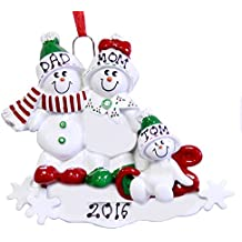 Family of 3 Snowman on Sled Personalized Christmas Ornament