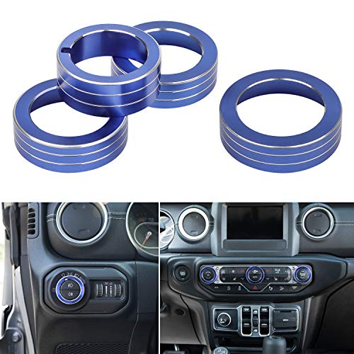 Sunluway 4 PCS Auto Audio Button, Air Conditioning & Headlight Switch Knob Button Decoration Ring Cover Trim for 2018 2019 Jeep Wrangler JL JLU