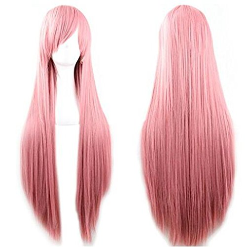 Rbenxia 32'' Women's Cosplay Wig Hair Wig Long Straight Costume Party Full Wigs Pink