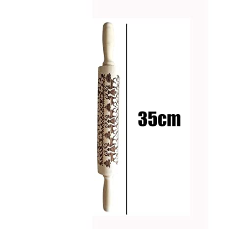 TM Jchen Merry Christmas Portable Christmas Rolling Pin Engraved Carved Wood Embossed Rolling Pin Kitchen Tool