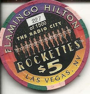 $5 flamingo hilton the radio city rockettes las vegas casino chip super rare