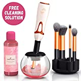 Professional Makeup Brush Cleaner - Automatic Spin Makeup Brush Cleaner Dryer Machine - Bonus Cleaning Solution - Best Electric Rotating Portable Foundation Eye Makeup Brush Cleaner Kit