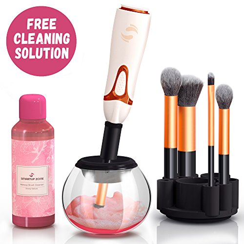Professional Makeup Brush Cleaner - Automatic Spin Makeup Brush Cleaner Dryer Machine - Bonus Cleaning Solution - Best Electric Rotating Portable Foundation Eye Makeup Brush Cleaner Kit by Smartup Zone