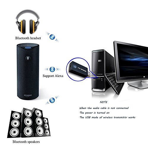 Bluetooth Transmitter USB, 3,5mm Portable Wireless Audio Adapter trasmitter Support Two Bluetooth Headphones/Speakers Simultaneously for TV/MP3/MP4 USB Power Supply by Yunjing (Image #2)