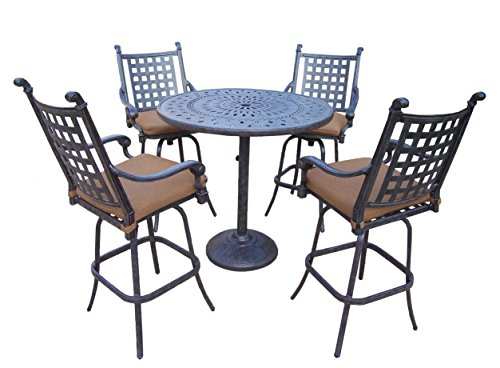 Oakland Living Belmont 5-Piece Bar Table Set with Sunbrella Cushions, 42-Inch