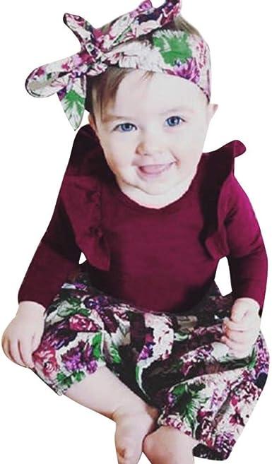 3Pcs Newborn Baby Girl Floral Romper Bodysuit Headband Hat Sets Outfits Jumpsuit