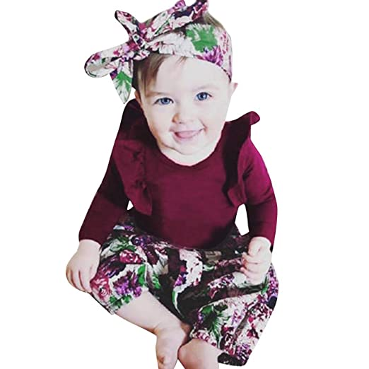 5c6fa13f3 3Pcs Newborn Baby Girls Clothes Floral Print Jumpsuit  Romper+Pants+Headband+Hat Outfits