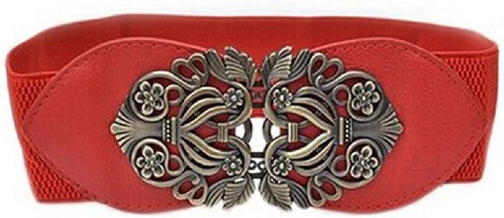Cebbay Accessories Alloy Flower Correa de Cuero Vintage Correas para Mujeres