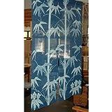 Japanese Noren, (WE1131), bamboo on blue, linen door way curtain