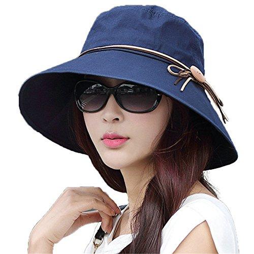 SIGGI Bucket Cord Sun Summer Beach Hat Wide Brim for Women Foldable UPF 50+