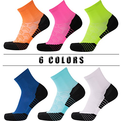 Running Socks Men, NIcool All Sports Cushioned High Performance Athletic Socks, 1 Pair, Bright Green