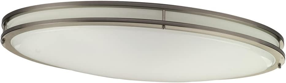 Monument 2480047 Led Flush Mount Oval Ceiling Fixture Brushed Nickel 32 1 2x18 1 4 In 42w Led Integrated Panel Array Included Amazon Com